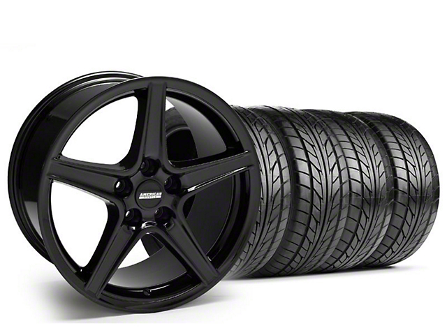 Staggered Saleen Style Black Wheel & NITTO Tire Kit - 18x9/10 (05-14 GT, V6)