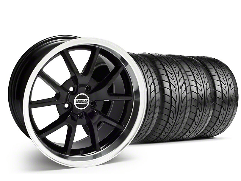 Staggered FR500 Style Black Wheel & NITTO Tire Kit - 18x9/10 (05-14)