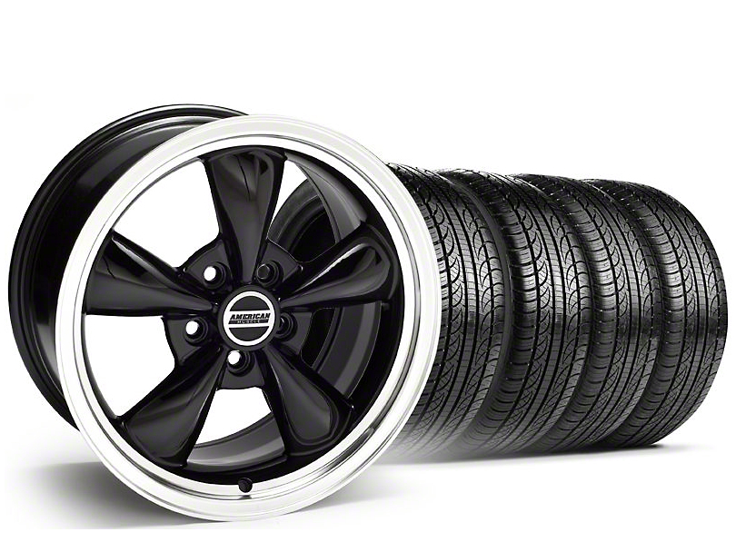 Staggered Bullitt Black Wheel & Pirelli Tire Kit - 19x8.5/10 (05-14 GT, V6)