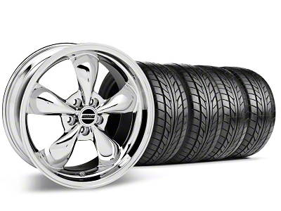 Staggered Bullitt Chrome Wheel & NITTO Tire Kit - 17x9/10.5 (99-04)