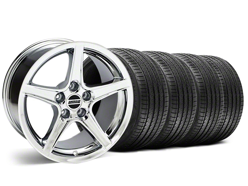 Staggered Saleen Style Chrome Wheel & Sumitomo Tire Kit - 18x9/10 (99-04)