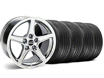 Staggered Chrome Saleen Style Wheel & Sumitomo Tire Kit - 18x9/10 (99-04)