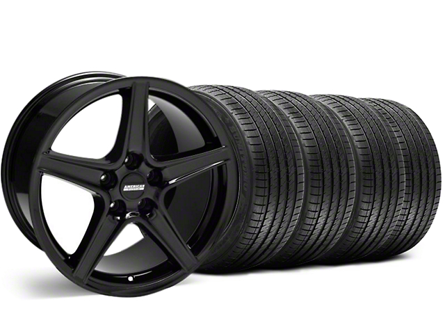 Staggered Saleen Style Black Wheel & Sumitomo Tire Kit - 18x9/10 (99-04)
