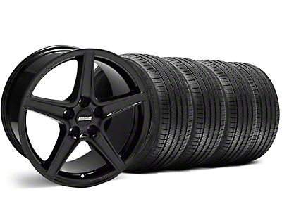 Staggered Black Saleen Style Wheel & Sumitomo Tire Kit - 18x9/10 (99-04)