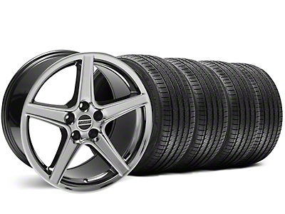 Staggered Black Chrome Saleen Style Wheel & Sumitomo Tire Kit - 18x9/10 (99-04)