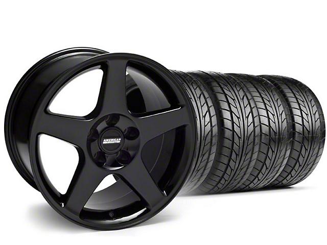 Staggered 2003 Cobra Style Black Wheel & NITTO Tire Kit - 17x9/10.5 (99-04)