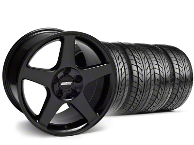 Staggered 2003 Cobra Style Black Wheel & NITTO Tire Kit - 17x9/10.5 (99-04)