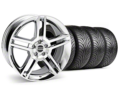 Staggered Chrome 2010 GT500 Wheel & Sumitomo Tire Kit - 18x9/10 (99-04)