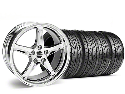 Staggered 1995 Cobra R Style Chrome Wheel & NITTO Tire Kit - 17x9/10.5 (99-04)