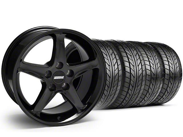 Staggered 1995 Cobra R Style Black Wheel & NITTO Tire Kit - 17x9/10.5 (99-04)