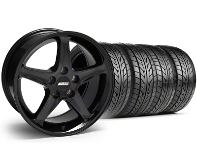 Staggered 1995 Cobra R Style Black Wheel & NITTO Tire Kit - 17x9/10.5 (99-04)