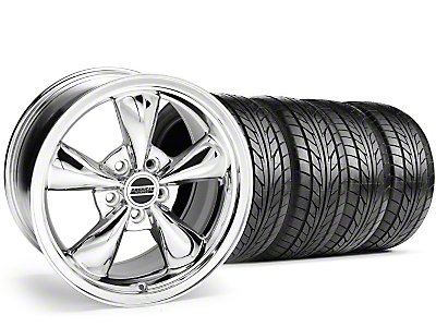 Staggered Chrome Bullitt Wheel & NITTO Tire Kit - 20x8.5/10 (05-10 GT, V6)