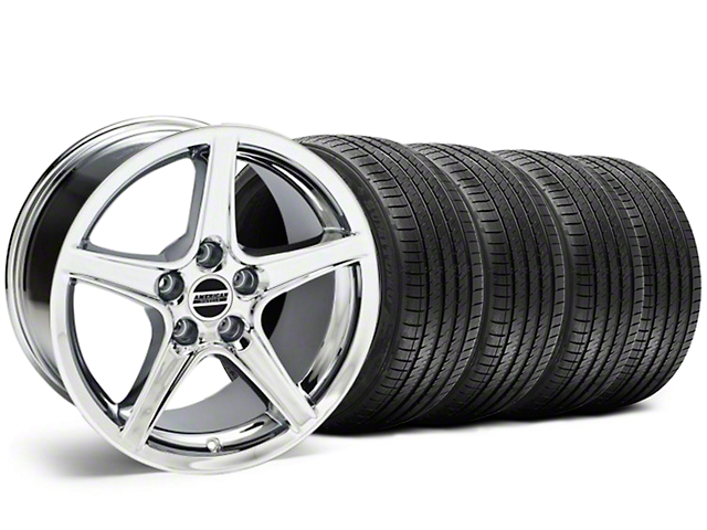 Staggered Saleen Style Chrome Wheel & Sumitomo Tire Kit - 18x9/10 (05-14 GT, V6)