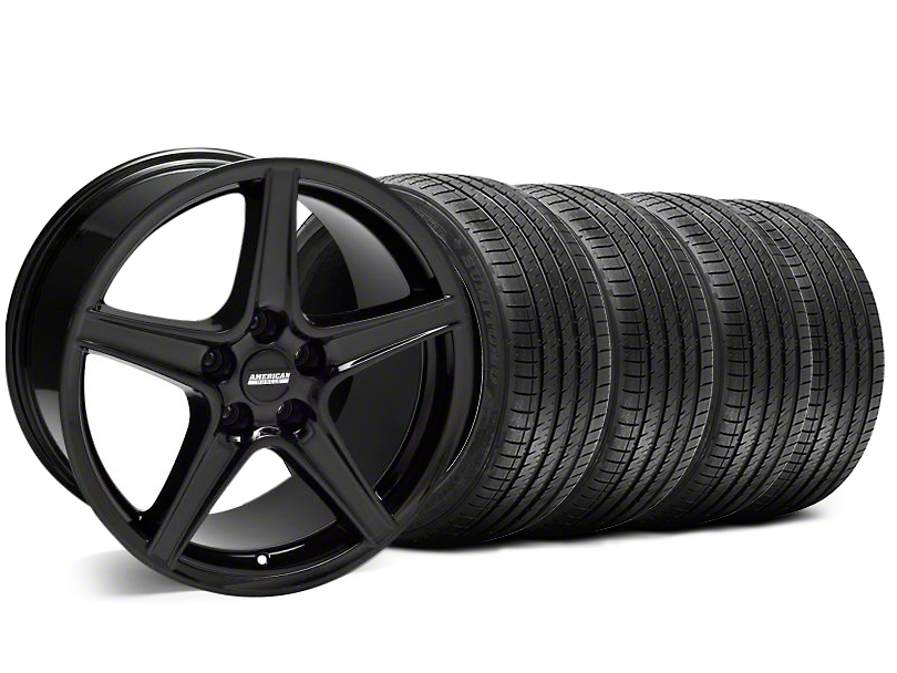 Staggered Saleen Style Black Wheel & Sumitomo Tire Kit - 18x9/10 (05-14 GT, V6)