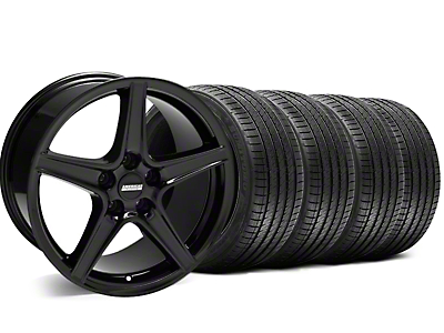 Staggered Saleen Black Wheel & Sumitomo Tire Kit - 18x9/10 (05-14 GT, V6)