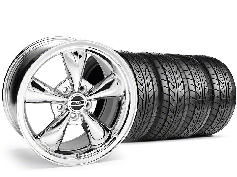 Staggered Bullitt Chrome Wheel & NITTO Tire Kit - 18x9/10 (99-04)