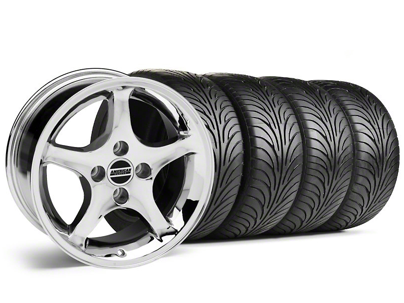 Staggered 1995 Cobra R Style Chrome Wheel & Sumitomo Tire Kit - 17x8/10 (87-93; Excludes 93 Cobra)