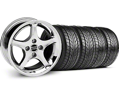 Chrome 1995 Style Cobra R Wheel & NITTO Tire Kit - 17x8 (87-93; Excludes 93 Cobra)