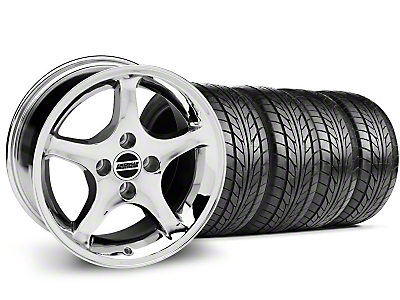 Staggered 1995 Cobra R Style Chrome Wheel & NITTO Tire Kit - 17x8/10 (87-93; Excludes 93 Cobra)