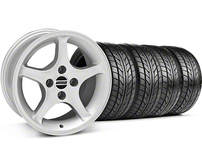 Staggered 1995 Cobra R Style Silver Wheel & NITTO Tire Kit - 17x8/10 (87-93; Excludes 93 Cobra)