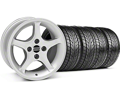 Staggered 1995 Cobra R Silver Wheel & NITTO Tire Kit - 17x8/10 (87-93; Excludes 93 Cobra)