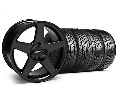 Black 2003 Style Cobra Wheel & NITTO Tire Kit - 17x9 (87-93; Excludes 93 Cobra)