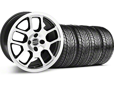 Black Machined 2007 Style GT500 Wheel & NITTO Tire Kit - 17x9 (87-93; Excludes 93 Cobra)