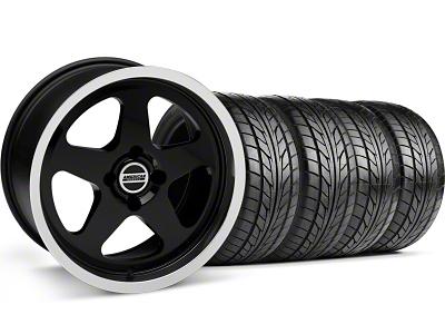 SC Style Black Wheel & NITTO Tire Kit - 17x8 (87-93; Excludes 93 Cobra)