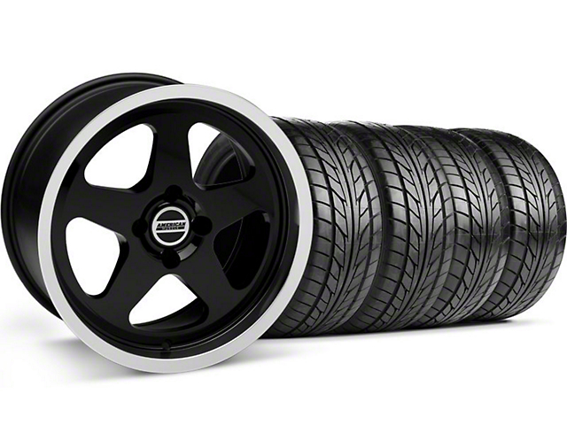 SC Style Black Wheel & NITTO Tire Kit - 17x9 (87-93; Excludes 93 Cobra)