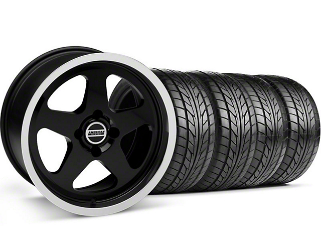 Staggered SC Black Wheel & NITTO Tire Kit - 17x8/9 (87-93; Excludes 93 Cobra)