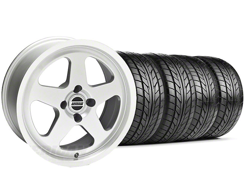 Staggered SC Silver Wheel & NITTO Tire Kit - 17x8/9 (87-93; Excludes 93 Cobra)