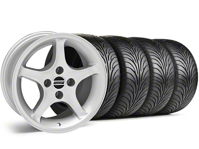 Staggered 1995 Cobra R Style Silver Wheel & Sumitomo Tire Kit - 17x8/10 (87-93; Excludes 93 Cobra)