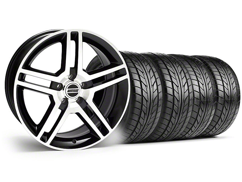 2010 GT500 Style Black Machined Wheel & NITTO Tire Kit - 18x9 (94-98 All)