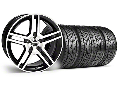 Black Machined 2010 GT500 Wheel & NITTO Tire Kit - 18x9 (94-98 All)