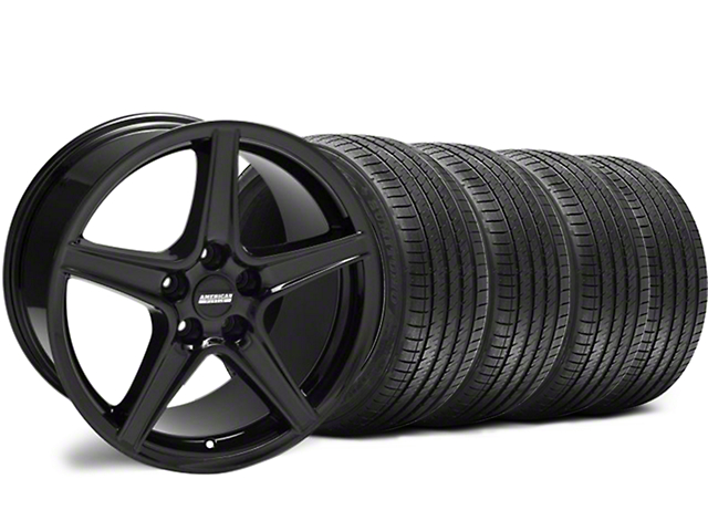Staggered Saleen Style Black Wheel & Sumitomo Tire Kit - 18x9/10 (94-98 All)