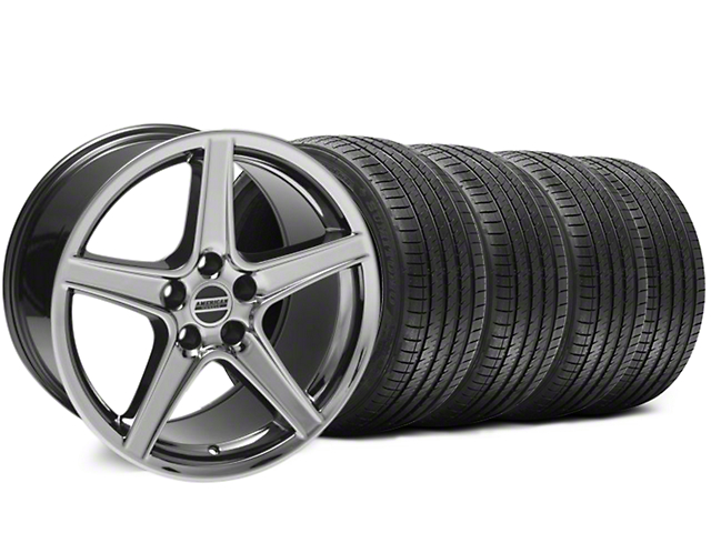 Staggered Saleen Style Black Chrome Wheel & Sumitomo Tire Kit - 18x9/10 (94-98 All)