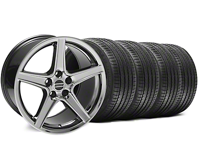 Staggered Black Chrome Saleen Style Wheel & Sumitomo Tire Kit - 18x9/10 (94-98 All)