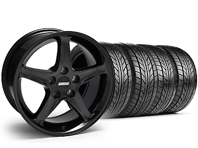 Staggered Black 1995 Style Cobra R Wheel & NITTO Tire Kit - 17x9/10.5 (94-98 All)
