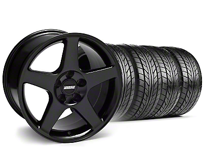 Staggered 2003 Cobra Style Black Wheel & NITTO Tire Kit - 17x9/10.5 (94-98 All)