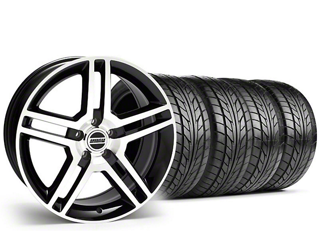 Staggered 2010 GT500 Style Black Machined Wheel & NITTO Tire Kit - 18x9/10 (94-98 All)