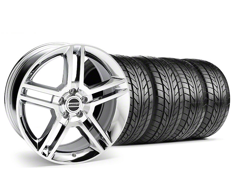 Staggered 2010 GT500 Style Chrome Wheel & NITTO Tire Kit - 18x9/10 (94-98 All)