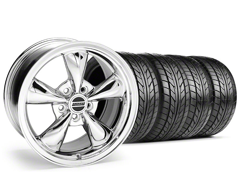 Staggered Bullitt Chrome Wheel & NITTO Tire Kit - 17x9/10.5 (94-98 All)