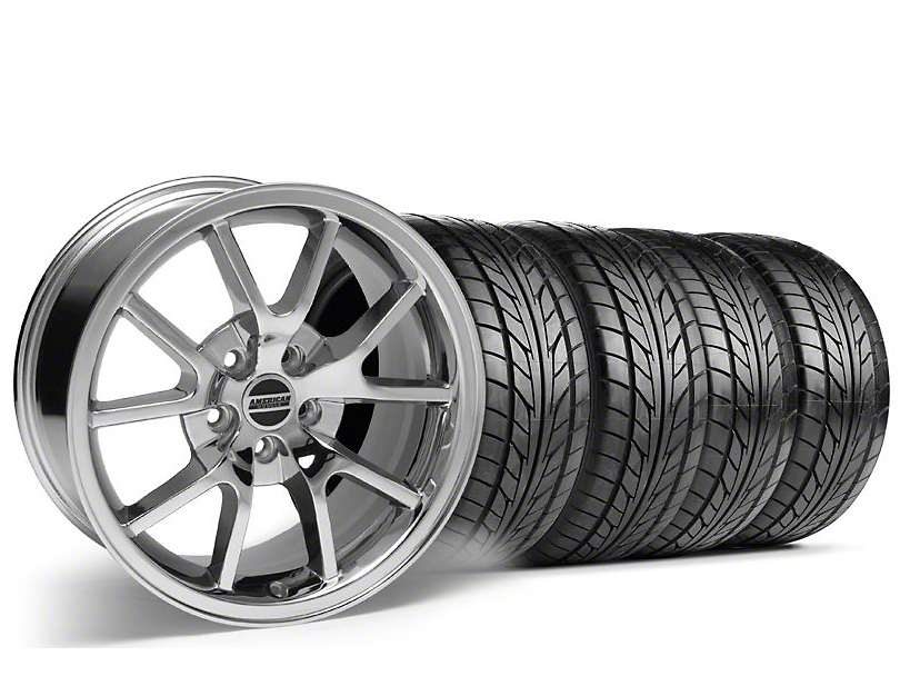 Staggered FR500 Style Chrome Wheel & NITTO Tire Kit - 17x9/10.5 (94-98 All)