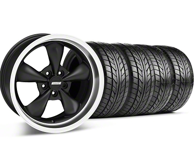 Staggered Bullitt Matte Black Wheel & NITTO Tire Kit - 18x9/10 (05-14 GT, V6)