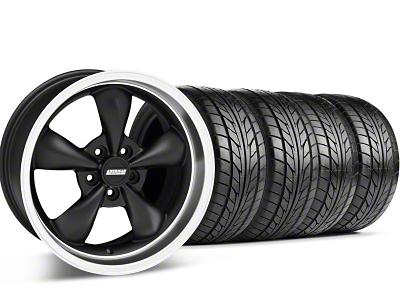 Staggered Bullitt Matte Black Wheel & NITTO Tire Kit - 18x9/10 (05-14 GT, V6)