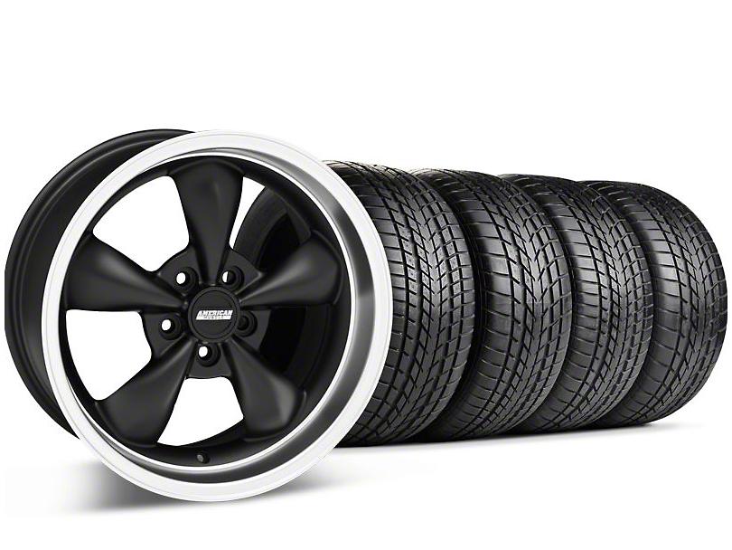 Staggered Bullitt Matte Black Wheel & Sumitomo Tire Kit - 17x9/10.5 (99-04 All)