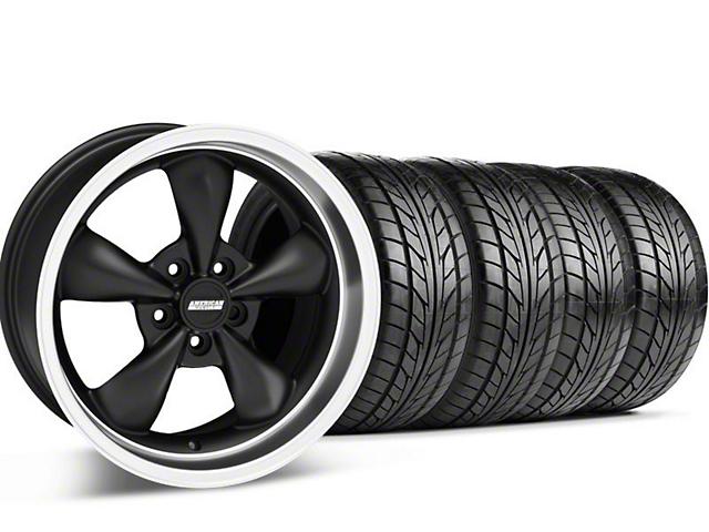 Staggered Bullitt Matte Black Wheel & NITTO Tire Kit - 17x9/10.5 (99-04 All)