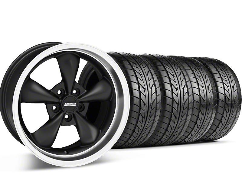 Staggered Bullitt Matte Black Wheel & NITTO Tire Kit - 18x9/10 (94-98 All)