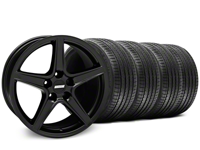 Staggered Saleen Style Matte Black Wheel & Sumitomo Tire Kit - 18x9/10 (05-14 GT, V6)