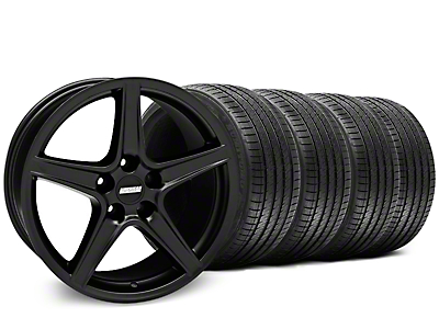Staggered Matte Black Saleen Style Wheel & Sumitomo Tire Kit - 18x9/10 (05-14 GT, V6)